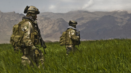 Afghan National Army (ANA) Commandos with the 207th Kandak are on a routine patrol on April 12 2009 in Gulistan district Farah province.(CJSOTF-A photo by Spc. Joseph A. Wilson.)